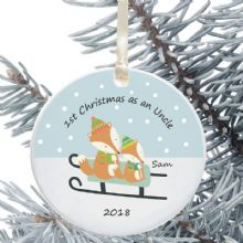 1st Christmas as an Aunty/Uncle Ceramic Keepsake Decoration - Fox Design